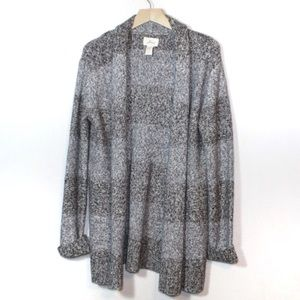 Levis gray striped marled knit open front cardigan